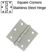 3 x 3 x Square Corners Residential Stainless Steel Hinge, Pair, Deltana SS33U32D-R