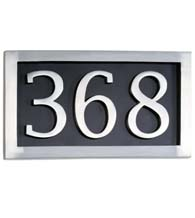 Three Number Address Plate, Brass Accents I08-P7530-627