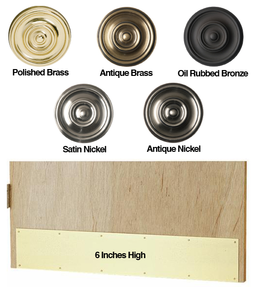 6 inch High Solid Brass Door Kick Plates - 6 Inch High Solid Brass Door Kick Plates - Doorware.com