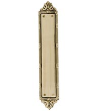 Ribbon and Reed Solid Brass Push Plate, Brass Accents A05-P7230
