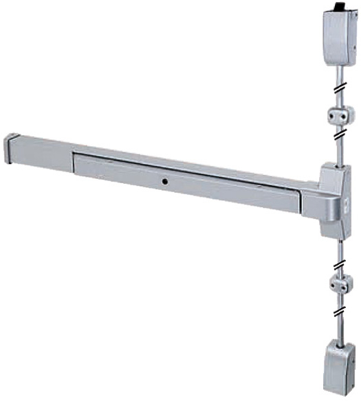 Wide Door Satin Chrome Vertical Rod Device