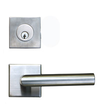 Contemporary Stainless Steel Entry Lever Set with Square Deadbolt, AHI SIG104/204/4850