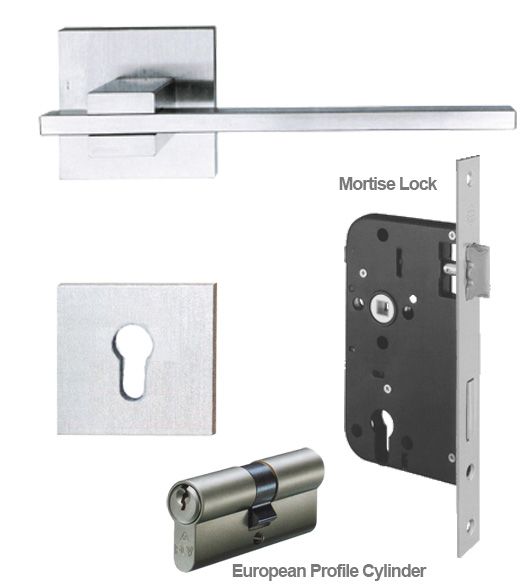Stainless Steel European Mortise Lock Entry Leverset Ahi