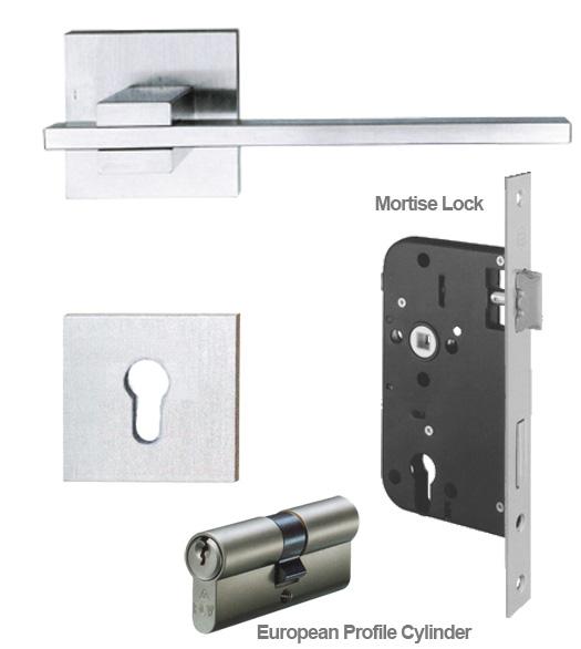 Stainless Steel European Mortise Lock Entry Leverset Ahi