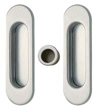 Contemporary Oval Pocket Door Passage Set, Reguitti SDK068PA