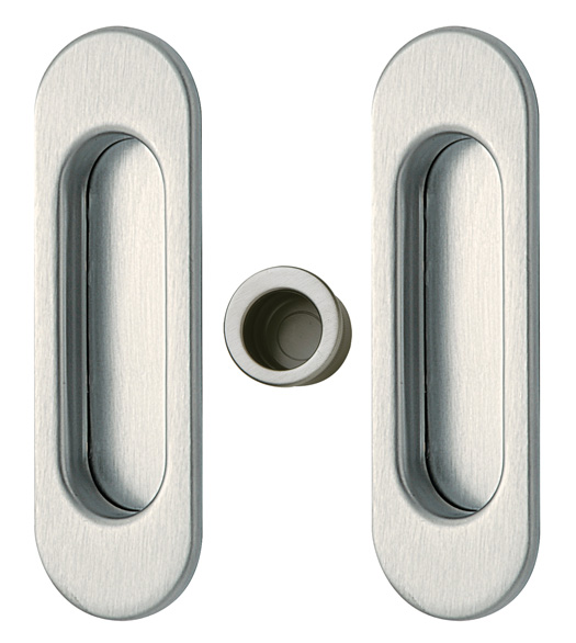Contemporary Oval Pocket Door Pull Set