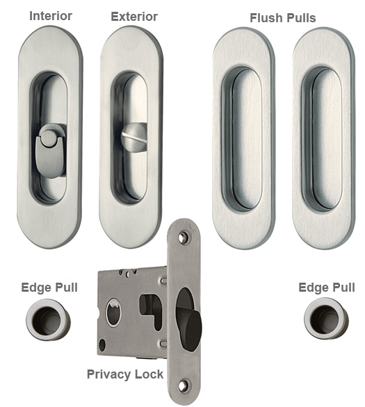 Contemporary Oval Double Pocket Door Lock Set Reguitti