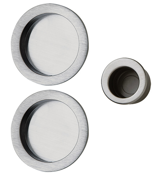 Merveilleux Contemporary Round Pocket Door Pull Set