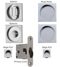 Modern Square Double Pocket Door Lock Set, Reguitti SDK092PV/PA