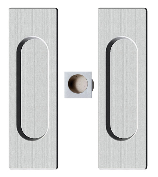 Contemporary Rectangle Pocket Door Pull Set