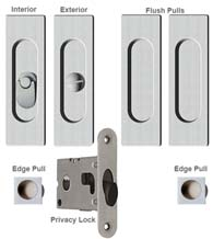 Contemporary Rectangle Double Pocket Door Lock Set, Reguitti SDK096PV/PA