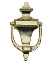 Solid Brass 6-1/2 Inch English Rope Door Knocker, Brass Accents A06-K0400