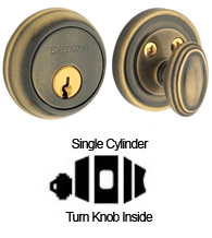 Traditional Single Cylinder Deadbolt For 1-5/8 Inch Door Preparations,  Baldwin 8031