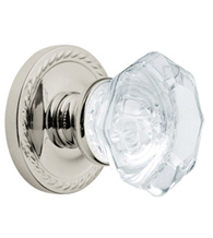 Glass Filmore Knob With Rope Rose, Baldwin 5080
