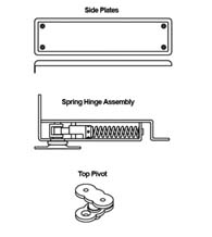 Horizontal Floor Spring Hinge Set with Hold Open, Bommer 7811