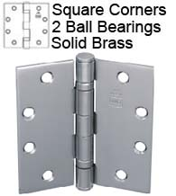 4-1/2 x 4 -1/2 Solid Brass Hinge with 2 Ball Bearings, Bommer BB5001-450