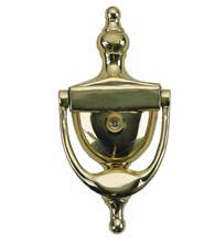 Colonial Door Knocker With Eye Viewer, Brass Accents A02-K5131