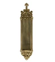 Gothic Decorative Push Plate, Brass Accents A04-P5600