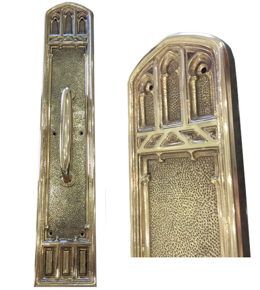 Polished Brass Gothic Pull Plate