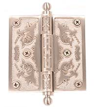 4 x 4 Filigree Brass Hinge with Ball Tips, Brass Accents H04-H335B