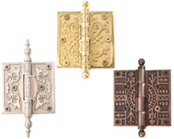 Brass Accents Ornate Hinges