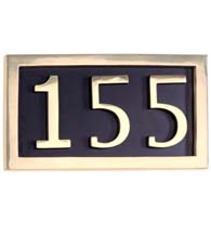Three Number Polished Brass Address Plate Assembly, Brass Accents I08-P7530-605