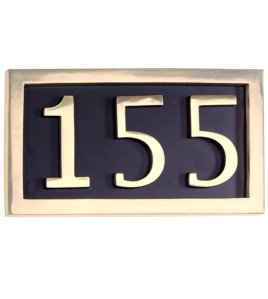 3 House Number Brass Address Plates