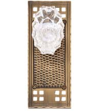 Arts and Crafts Plate with Crystal Savannah Knob, Brass Accents D05-K533-SAV