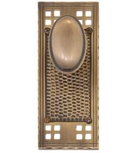 Arts and Crafts Plate with Windsor Knob, Brass Accents D07-K533-WIN