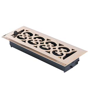 3 Inch x 10 Inch Scroll Register with Damper, Brass Accents A03-R4310