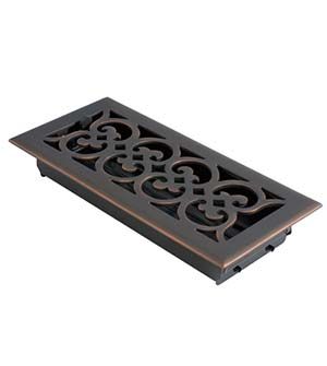 4 Inch x 10 Inch Scroll Register with Damper, Brass Accents A03-R4410