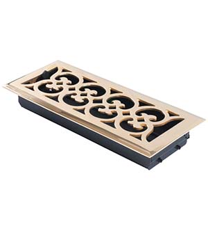 4 Inch x 12 Inch Scroll Register with Damper, Brass Accents A03-R4412
