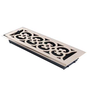4 Inch x 14 Inch Scroll Register with Damper, Brass Accents A03-R4414