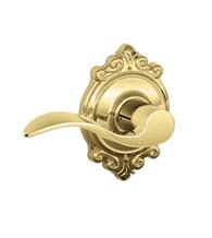 Accent Lever With Brookshire Rose, Schlage F-ACC-BRK
