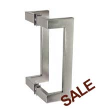 10 Inch Stainless Steel Rectangular Offset Glass Door Pulls, Pair