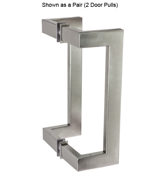 10 Inch Stainless Steel Rectangular Offset Glass Door Pulls Pair