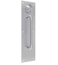 Door Push and Pull Plate Set with Single Cylinder Deadbolt