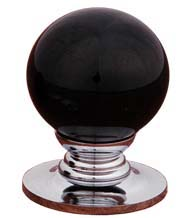 Black Porcelain Ball Cabinet Knob with Polished Chrome Rose, RK International CK-306