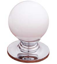 White Porcelain Ball Cabinet Knob with Polished Chrome Rose, RK International CK-307