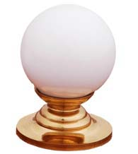 White Porcelain Ball Cabinet Knob with Polished Brass Rose, RK International CK-308