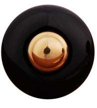 1 Inch Black Porcelain Cabinet Knob with Metal Center, RK International CK-317