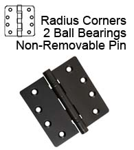 4-1/2 x 4  x Radius Corners Commercial Door Hinge, 2 Ball Bearings, Non-Removable Pin