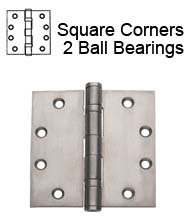4-1/2 x 4-1/2  Brushed Chrome Commercial Hinge, 2 Ball Bearings, Global CP4545BB-US26D