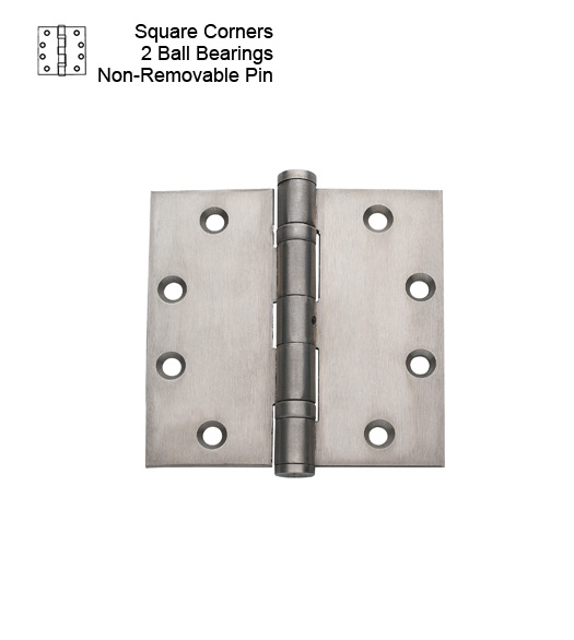 4-1/2 Brushed Chrome Non-Removable Pin  Hinge