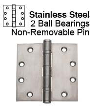 4.5 x 4 Stainless Steel Commercial Door Hinge, 2 Ball Bearings and Non-Removable Pin