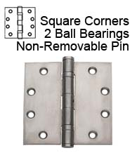 4-1/2 x 4-1/2 Commercial Stainless Steel Hinge, 2 Ball Bearings and Non-Removable Pin