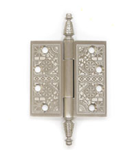 4-1/2 x 4-1/2 x Square Corners, Solid Brass Ornate Hinge, Pair, With Finials, Deltana DSBP45
