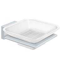 White Frosted Glass Soap Dish, Deltana 55D2012