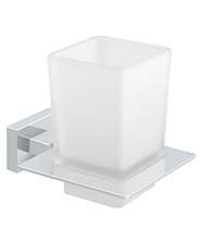 Modern White Frosted Glass Wall Mounted Tooth Brush Holder, Deltana 55D2014