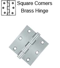 3 x 3 x Square Corners Solid Brass Hinge, Pair,  Deltana DSB3